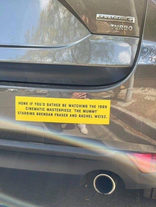 honk if youd rather be watching the 1999 the mummy bumper sticker
