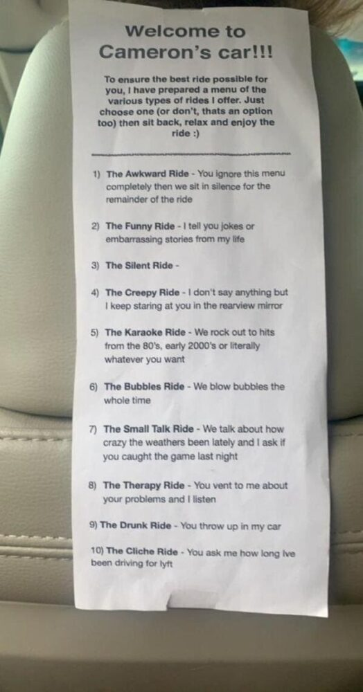 camerons car, pick your ride, awkward uber, silent uber funniest pic of the week reddit