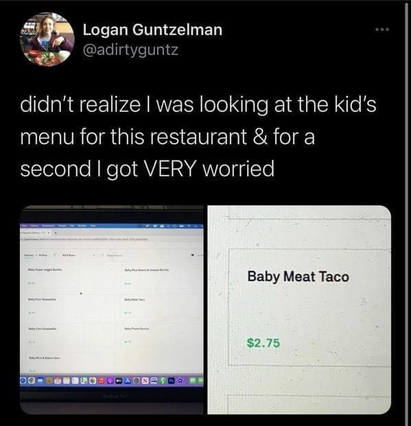baby meat taco funny tweet picture