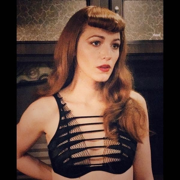 blake lively redhead instagram cleavage black bra