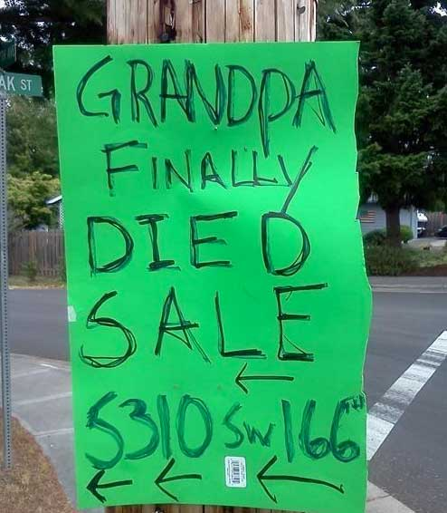 The 20 Funniest Garage Sale Signs Ever (GALLERY)