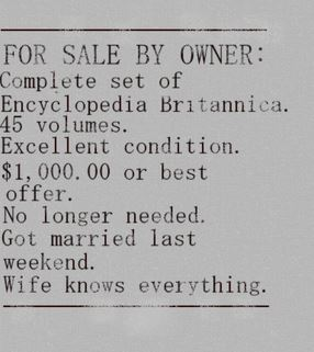funny classified ad wife