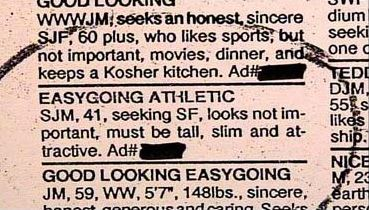Funny classified dating ads