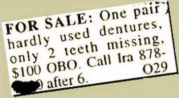 classified ad teeth