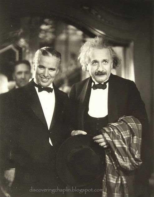 Charlie Chaplin with Albert Einstein at the premiere of his movie City Lights