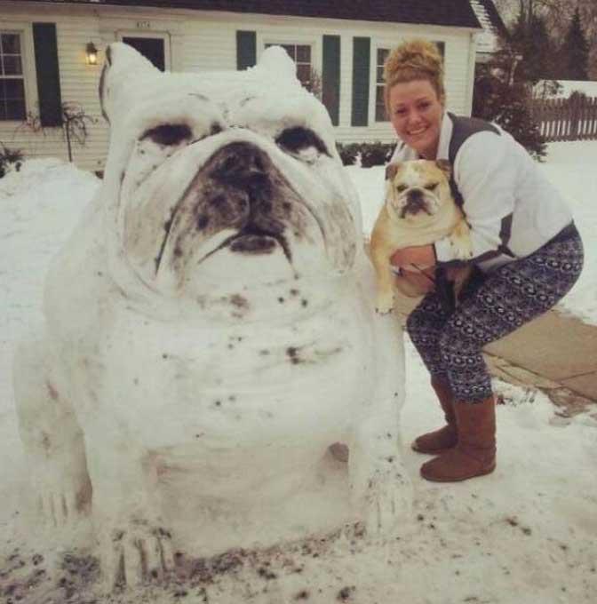 dog-snowman
