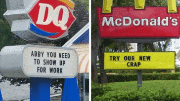 abby you need to show up dairy queen mcdonals crap signs