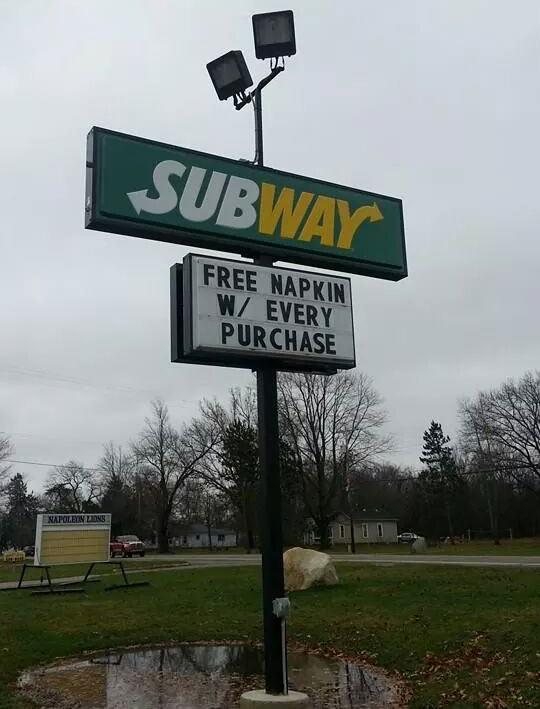 funny Subway sign free napkin