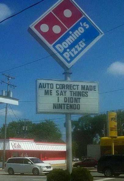 funny dominos sign