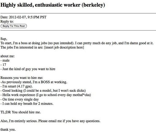 craigslist resume funny - Funny Email Addresses On Resumes