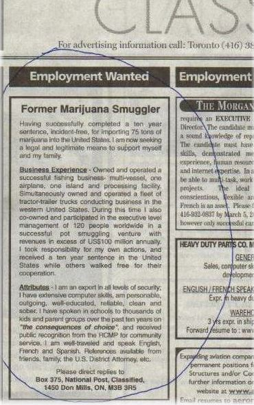 employment wanted ad