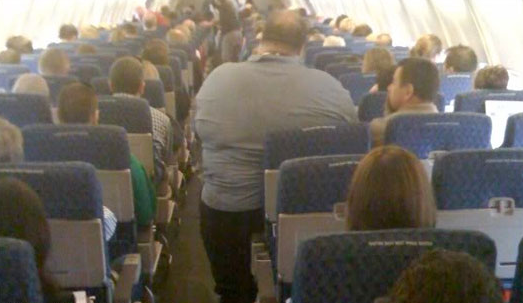 fat airplane passenger