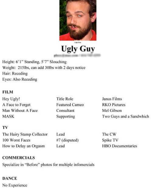 Guy Ugly Resume  Worst Resume Ever