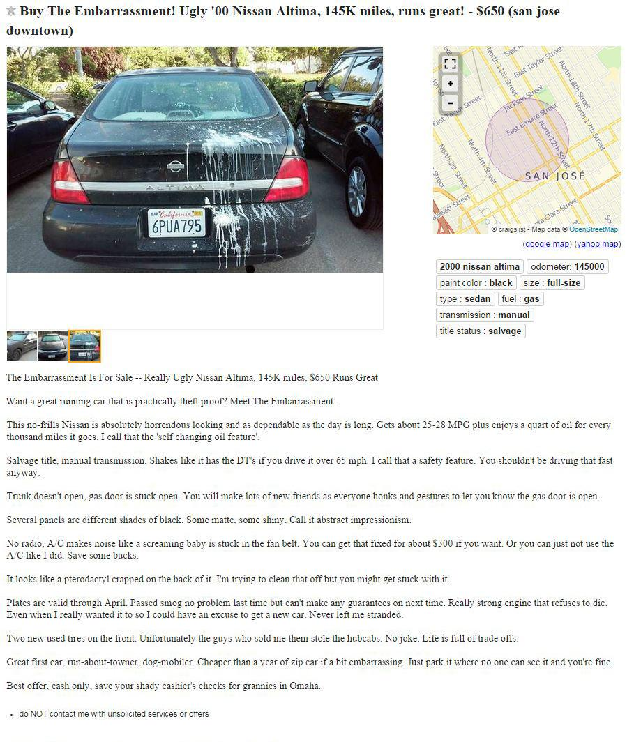 Generous Craigslist Car Ad Template Photos - Example Resume ...