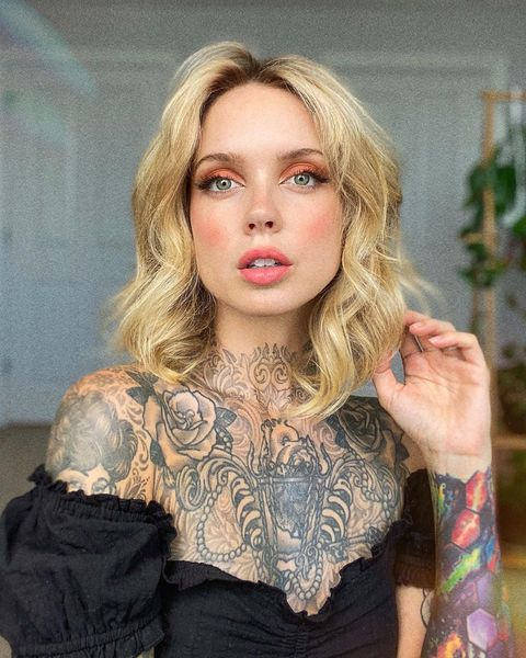 hot blonde with tattoo on neck