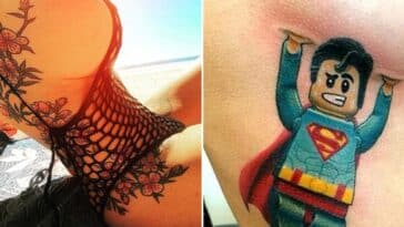 flower side boob and superman lego holding up side boob tattoo