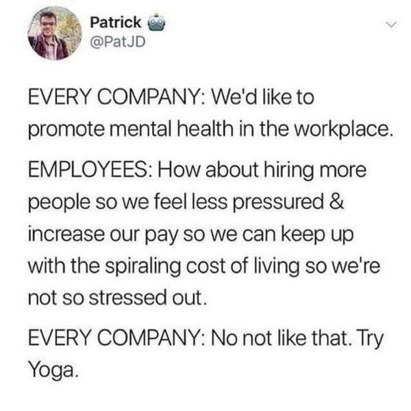 company mental health employee meme