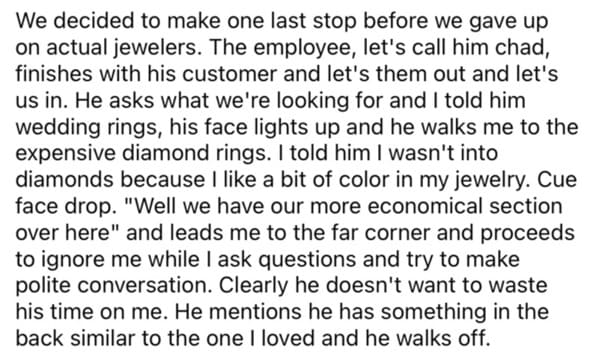 Jewelry store cheap customers, chad story, story on reddit about diamond ring shopping goes viral, petty revenge, Reddit