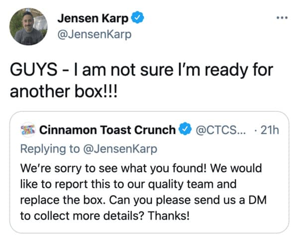 Cinnamon Toast Crunch shrimp tails, funny twitter thread about cereal and shrimp, fishy, gross, companies on twitter, cereal with mouse poop in it, gross things found in food, Jensen karp