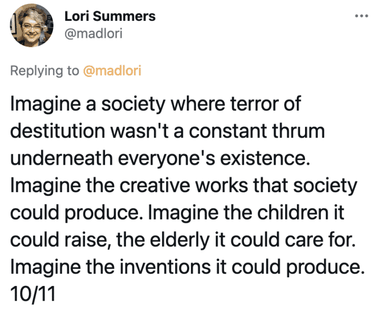 People should not have to work, UBI, universal basic income, countries with universal basic income, socialism, communism, capitalism, twitter thread, arguments for and against socialist policies, Lori Summers, viral