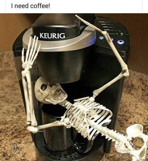 skeleton drinking coffee meme