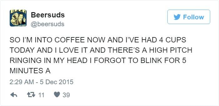 funny too much coffee tweet meme