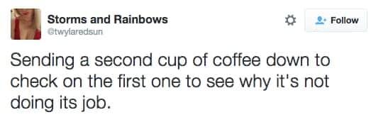 sending a second coffee tweet meme