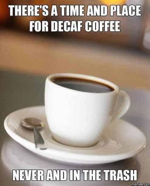 no time or place for decaf coffee meme