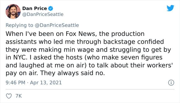Dan Price CEO of Gravity Payments pay cut, Fox News mocks CEO for taking pay cut to pay his employees more, viral twitter thread about socialism, treating staff like people, the only good boss in the United States, pay cut CEO has last laugh, capitalism, socialist