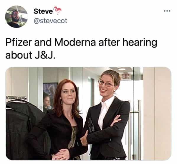 Funny memes about the Johnson and Johnson vaccine, J and J, Johnson vaccine, covid jokes, blood clots, pause on coronavirus vaccine, funny tweets, twitter memes, joke, lol